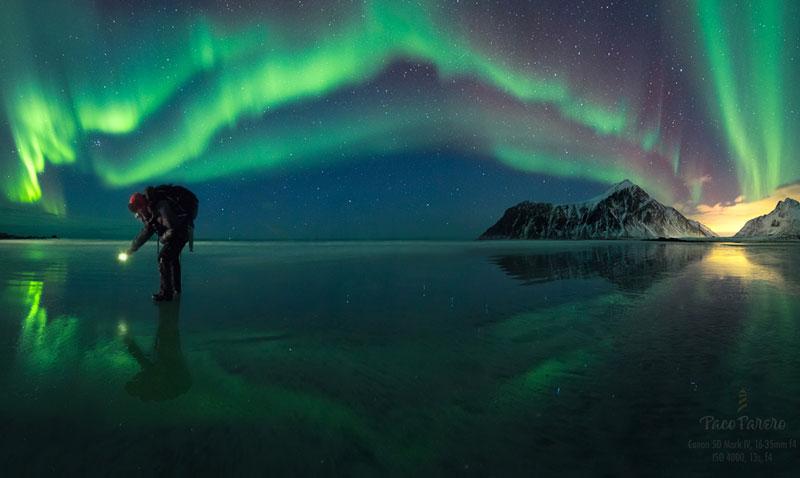 fotografía de Paco farero de una aurora boreal