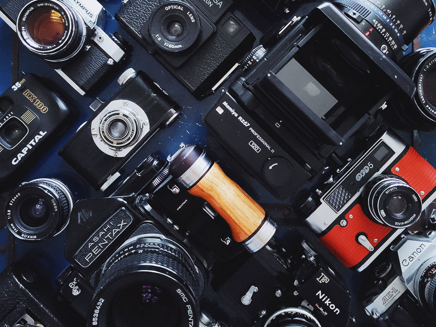 Fotografia de muchos tipos de camaras de fotos